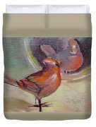 VAIN CARDINAL Duvet Cover by Donna Shortt