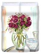Valentines Crystal Rose Duvet Cover by Clara Sue Beym