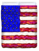 Van Gogh.s Starry American Flag . Square Duvet Cover by Wingsdomain Art and Photography