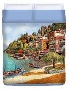 Varenna On Lake Como Duvet Cover by Guido Borelli