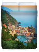 Vernazza From Above Duvet Cover by Inge Johnsson
