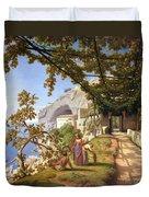 View Of Capri Duvet Cover by Theodore Aligny