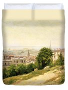 View Of Paris Duvet Cover by Stanislas Victor Edouard Lepine