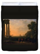 View Of Seaport Duvet Cover by Claude Lorrain
