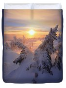 View Of Snow-covered Trees At Mont Duvet Cover by Yves Marcoux