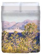 View Of The Cap Dantibes With The Mistral Blowing Duvet Cover by Claude Monet