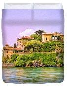 Villa On Lake Como Duvet Cover by Dominic Piperata