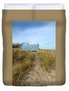 Vintage Camping Trailer Near The Sea Duvet Cover by Jill Battaglia