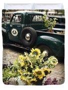 Vintage Flower Truck-Nantucket Duvet Cover by Tammy Wetzel