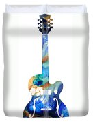 Vintage Guitar - Colorful Abstract Musical Instrument Duvet Cover by Sharon Cummings