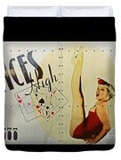 Vintage Nose Art Aces High Duvet Cover by Cinema Photography