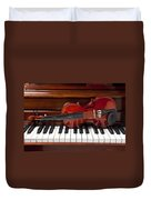 Violin On Piano Duvet Cover by Garry Gay