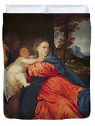Virgin and Infant with Saint John the Baptist and Donor Duvet Cover by Titian