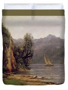 Vue Du Lac Leman Duvet Cover by Gustave Courbet