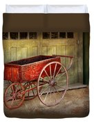 Wagon - That Old Red Wagon  Duvet Cover by Mike Savad
