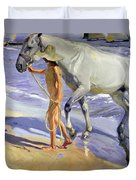 Washing The Horse Duvet Cover by Joaquin Sorolla y Bastida