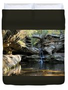 Waterfall At Old Man Cave Duvet Cover by Larry Ricker