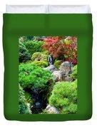 Waterfalls In Japanese Garden Duvet Cover by Carol Groenen