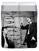Watson And Crick Duvet Cover by A Barrington Brown and Photo Researchers