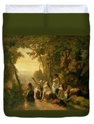 Weeping Of The Daughter Of Jephthah Duvet Cover by Narcisse Virgile Diaz de la Pena
