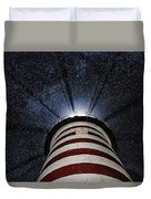 West Quoddy Head Lighthouse Night Light Duvet Cover by Marty Saccone