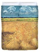 Wheatfield With Sheaves Duvet Cover by Vincent van Gogh