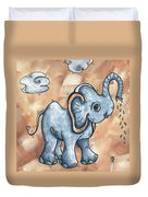 Whimsical Pop Art Childrens Nursery Original Elephant Painting Adorable By Madart Duvet Cover by Megan Duncanson
