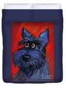 whimsical Schnauzer dog painting Duvet Cover by Svetlana Novikova