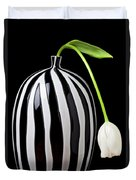 White Tulip In Striped Vase Duvet Cover by Garry Gay