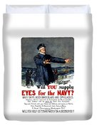 Will You Supply Eyes For The Navy Duvet Cover by War Is Hell Store