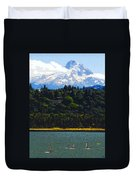Wind Surfing Mt. Hood Duvet Cover by David Lee Thompson