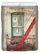 Window And Red Fire Escape Duvet Cover by Gary Heller