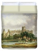 Windsor Castle - From The Thames Duvet Cover by Alfred Vickers