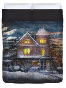 Winter - Clinton Nj - A Victorian Christmas  Duvet Cover by Mike Savad
