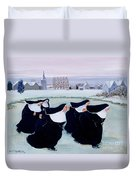 Winter At The Convent Duvet Cover by Margaret Loxton