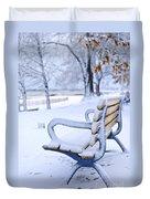 Winter Bench Duvet Cover by Elena Elisseeva