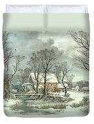 Winter In The Country - The Old Grist Mill Duvet Cover by Currier and Ives