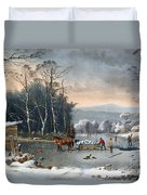 Winter In The Country Duvet Cover by Currier and Ives
