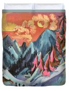 Winter Landscape In Moonlight Duvet Cover by Ernst Ludwig Kirchner