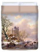 Winter Landscape With Castle Duvet Cover by Frederick Marianus Kruseman