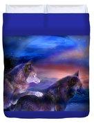 Wolf Mates Duvet Cover by Carol Cavalaris