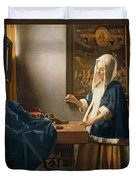 Woman Holding A Balance Duvet Cover by Jan Vermeer