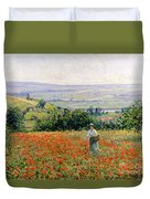 Woman In A Poppy Field Duvet Cover by Leon Giran Max