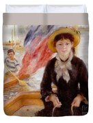 Woman In Boat With Canoeist Duvet Cover by Renoir