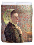 Woman Wearing A Green Headscarf Duvet Cover by Camille Pissarro