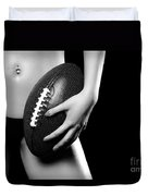 Woman With A Football Duvet Cover by Oleksiy Maksymenko