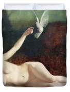 Woman with Pigeons Duvet Cover by Ernst Philippe Zacharie
