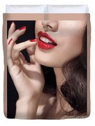 Woman With Red Lipstick Closeup Of Sensual Mouth Duvet Cover by Oleksiy Maksymenko
