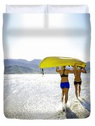Women Kayakers Duvet Cover by Kicka Witte - Printscapes