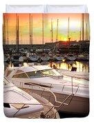Yacht Marina Duvet Cover by Carlos Caetano